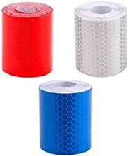3pcs/lot(White+red+Yellow) high Visibility Warning Tape Reflective Tape Car Wheel Rim Shape Safety Reflector S