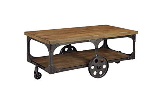furniture signature design coffee table cocktail height rectangular metal base brown top industrial cart with storage round iron legs