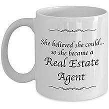 Real Estate Coffee Mug - She Believed She Could Desk Decor Mug For Women - Real Estate Agent