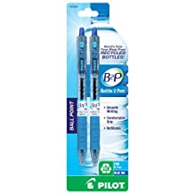 Pilot B2P, Bottle to Pen, Retractable Ball Point Pens Made from Recycled Bottles, 2 Pen Pack, Fine Point, Blue -32606