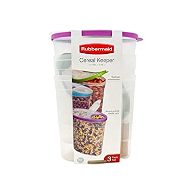 Rubbermaid Cereal or Snack Storage Container Each 1.5 Gal 3-Pack, 3 Assorted Colors