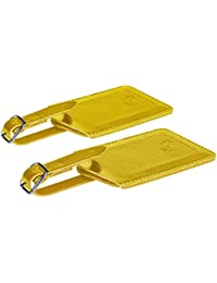 Genuine Leather Luggage Tags & Bag Tags 2 pieces Set in 14 Color