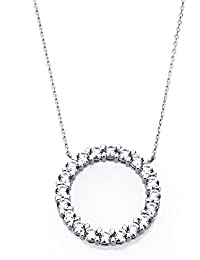 Platinum Plated Sterling Silver Round Cut Cubic Zirconia Eternity Womens Pendant Necklace