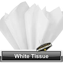 """100 Pack x Mighty Gadget (R) Solid White Colored Tissue Paper Sheets 15"""" x 20"""""""