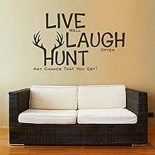 Live Laugh Hunt Wall Decal Deer Antler Decal Hunting Decor Wall Words Vinyl Wall Art(Dark brown,m)