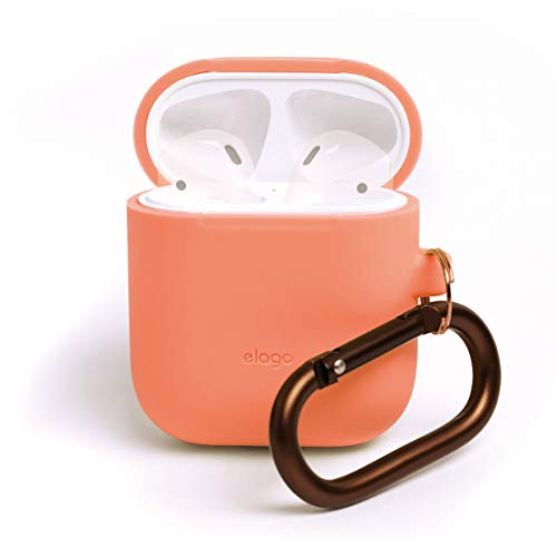 elago AirPods Hang Case [Peach] - [Compatible with Apple AirPods 1 & 2; Front LED Not Visible][Supports Wireless Charging][Extra Protection] [Added Carabiner] - for AirPods 1 & 2 ()