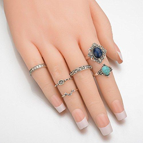 shuaiguo L'Europe et les États-Unis populaire Retro Ring Set, bague turquoise simple