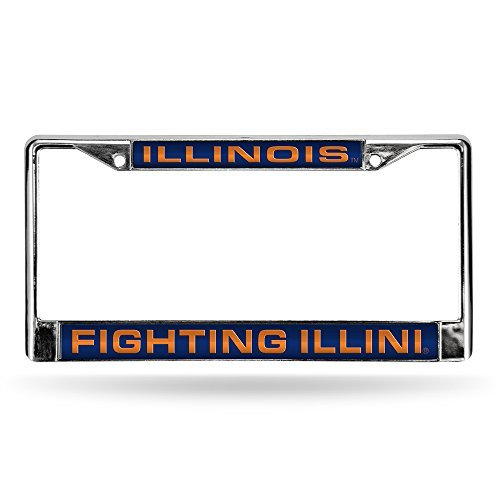 Rico Industries NCAA Illinois Illini Laser Cut Inlaid Standard Chrome License Plate -