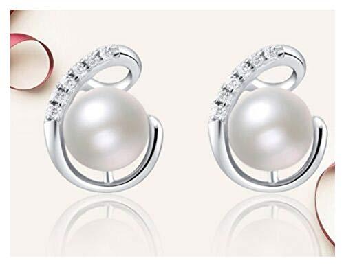h5_am 1 Pair Sterling Silver Genuine Freshwater Pearl CZ Flower Stud Earrings Gift Box (Pearl Freshwater Best)