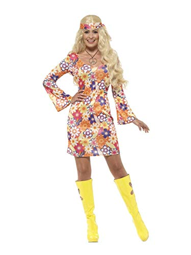 Ladies Flower Fever Floral Hippy Hippie 60s 70s 1960s 1970s Decades Fancy Dress Costume UK 4-22 Plus Size (UK 16-18) ()