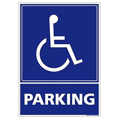 Parking Handicapé - Panneau Plaque Pancarte - Plastique rigide PVC 1, 5 mm - Dimensions 210 x 300 mm - Double face au dos - Garantie 10 ans - Panneau parking handicap Signaletique.biz