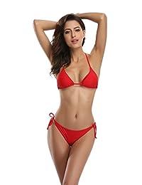 SHEKINI Women's Tie Side Bottom Push Up Padded Top Triangle Bikini Bathing Suit