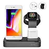 Charging Stand for Apple Watch iPhone AirPods, 3 in 1 Aluminum Desktop Charging Station Charger Dock Holder for Apple iPhone X/8/8 Plus/7/7 Plus, Apple Watch Series 1/2/3, AirPods (Black)