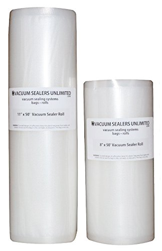 Vacuum Sealers Unlimited - Two 50 Foot Rolls (1-8'' & 1-11'') Thicker, Heavy-Duty Commercial Grade Textured Vacuum Sealer Bags For Foodsaver etc - BPA Free & FDA Approved by Vacuum Sealers Unlimited