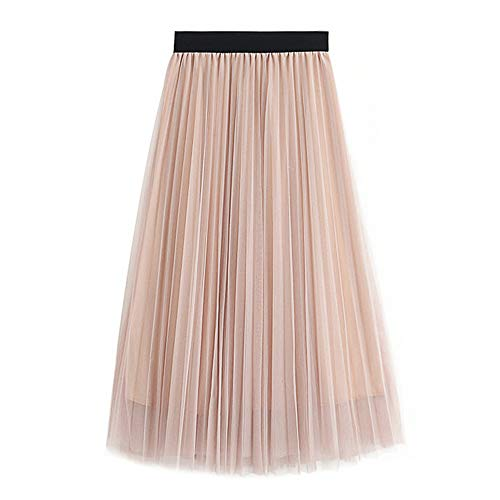 WAFA Women's Long Tulle Skirt Tutu Swing Skirts Pleated Maxi Chiffon Petticoat High Elastic Waist Midi Skirt Flowing Big Hem-Apricot