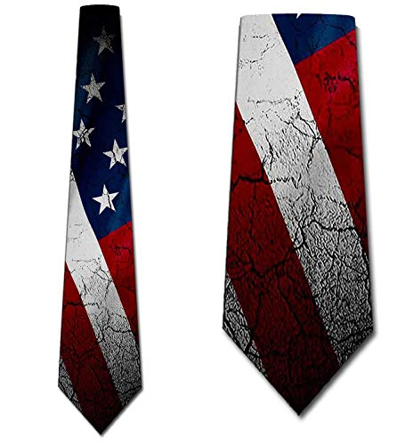 Flag Ties Mens Distressed American US Flag Necktie by Three Rooker