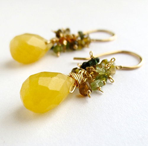 (Yellow Jade Drop Earrings with Watermelon Tourmaline)