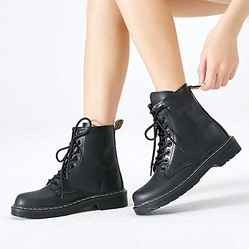 Mode Stiefel Toe Runde Damen Kampf Schuhe Fashion up Frauen LIANGXIE Lase Frauen Lace Für Stiefeletten Schwarz Leder up Booties Warme Stiefel Martens xfRSwf7q