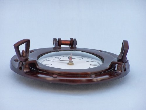Handcrafted Model Ships Antique Copper Deluxe Class Porthole Clock 8 – Nautical Clock – Nautical Theme