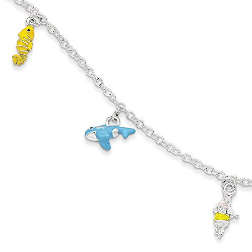 Sterling Silver Childrens Enameled Whale w//1.5in ext Bracelet