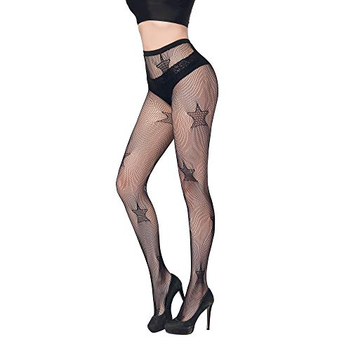 FLORA GUARD High Waist Tights Fishnet Stockings, High Waist Sexy Fishnets Pantyhose (Star)