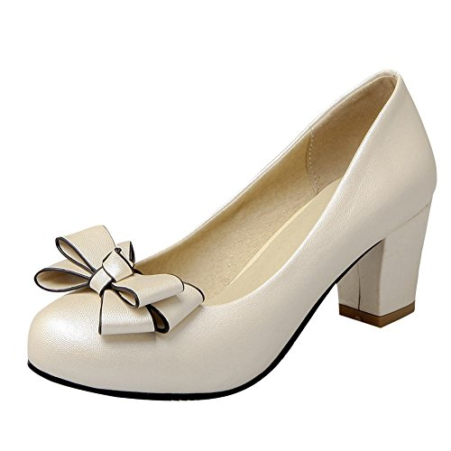 Charm Foot Womens Comfort Bows Chunky Mid Heel Pumps Shoes Beige kkTvprVu3