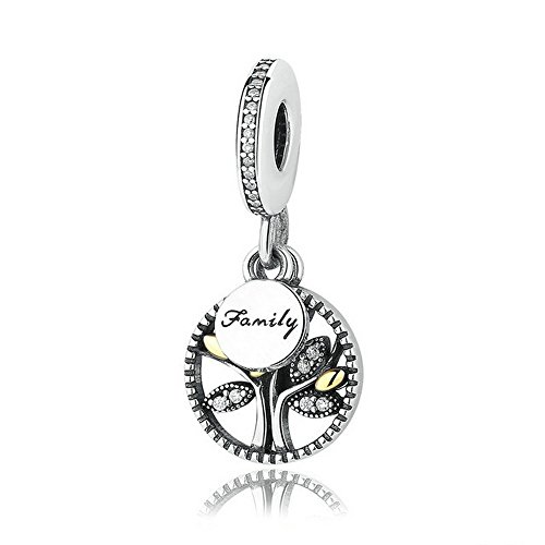 PAHALA 925 Sterling Silver Family Tree Dangle CZ With Crystals Fit Bracelets Necklace