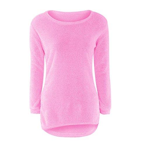 Rcool Mujer Otoño Primavera Suéter Loose Pullover Suéteres Jerseys Manga Larga Camiseta Tapas Blusa rosa caliente
