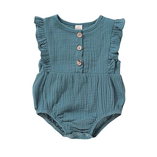 Infant Clothes for Girls Summer Baby Girl Romper Sleeveless Jumpsuits Ruffle Sleeve Onsie Linen Outfits Solid Color Onesies Cute Dark Green Vintage Clothing 12-18 Months