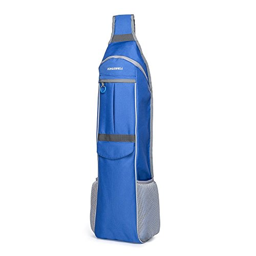 Yoga Mat Bag RESTAR Y5603 Crossbody Yoga Bag with Cellphone Pocket,adjustable shoulder strap and Delrin Zipper (MAT IS NOT INCLUDED) - Yoga Bags for Men and Women - In Blue With Yellow Oval Rectangle Logo