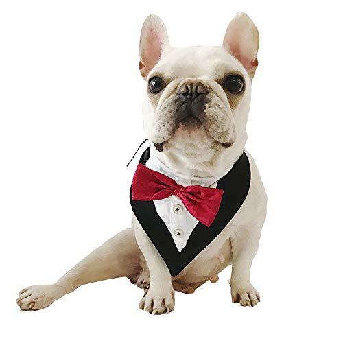 PAWACA Wedding Tuxedo Dog Bandana Scarf Adjustable Cat