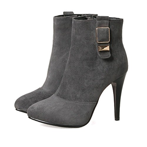 Women's Faux Toe KingRover Zip Pointed Stiletto Dress Ankle Buckle Gray Decor Heel Suede Side Booties High drIqx5qT