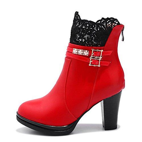 BalaMasa Encaje de Rojo Hebillas ABL10576 Metal uretano para Mujer de con Botas rqrwvZa