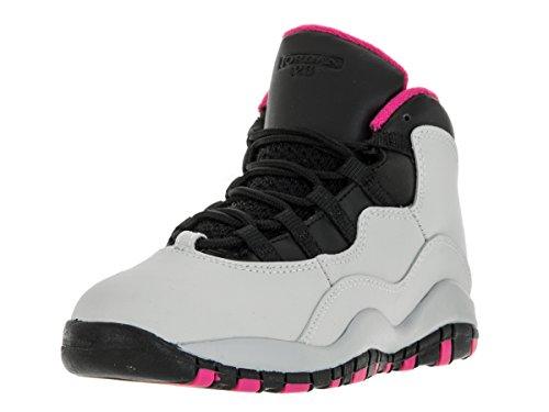 Nike Jordan Kids Jordan 10 Retro Gp Pure Platinum/Vivid Pink/Black Basketball Shoe 12 Kids US by Jordan