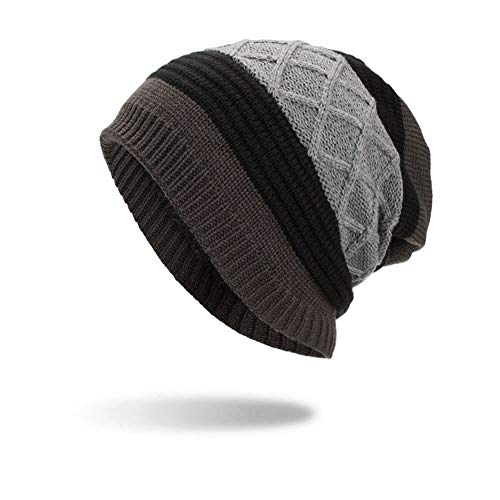 iYBUIA Unisex Warm Baggy Weave Crochet Winter Wool Knit Ski Beanie Skull Caps Hat(Gray,One Size)