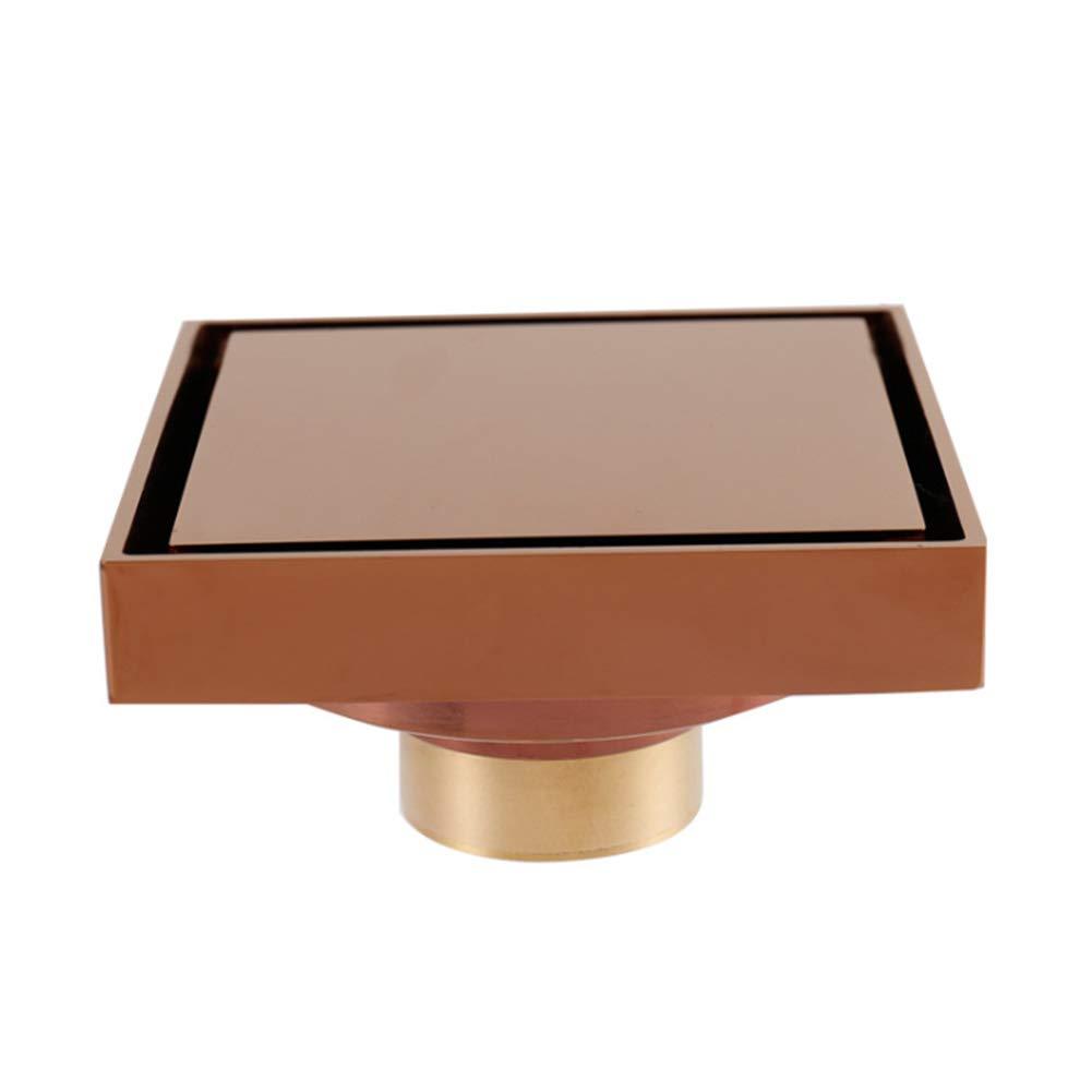 Bagno Design Semplice Rose Gold Ottone per Bagno con Rivestimento Rimovibile Moderno Invisibile Doccia Scarico Quadrato da Pavimento antiodore Balcone Lavanderia Taglia Libera