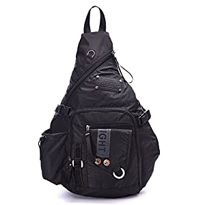 DDDH Large Sling Bags Crossbody Backpack 14.1-Inch Chest Daypack Travel Bag Book Bag for Men&Women(Black)