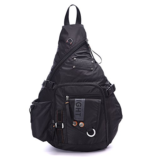 DDDH Large Sling Bags Crossbody Backpack 14.1-Inch Chest Daypack Travel Bag Book Bag for Men&Women(Black) 1 Chest Pack