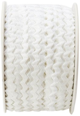 - May Arts 1/8-Inch Wide Ribbon, White Ric Rac