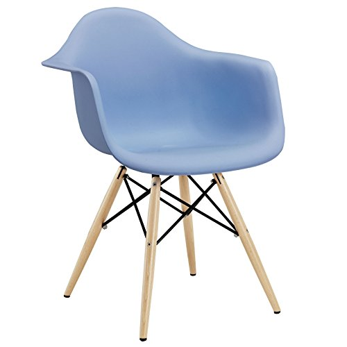 Modway Pyramid Dining Armchair with Natural Wood Legs in Blue