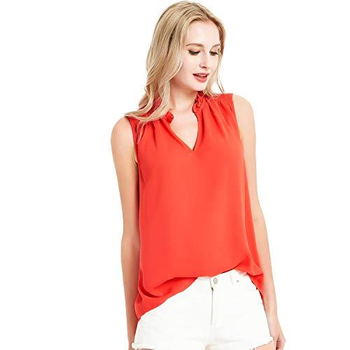 (Basic Model Summer Sleeveless Tank Tops for Women Chiffon Ruffled V Neck Blouse Shirt)