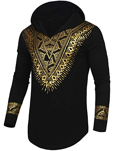 - Pacinoble Mens African Dashiki Shirt Luxury Metallic Floral Printed Long Sleeve Shirts Blouse