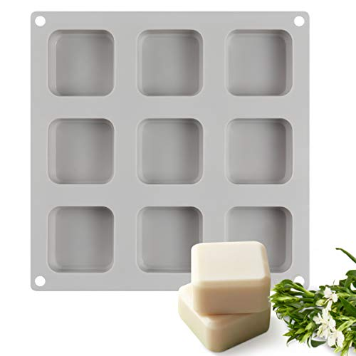 - SJ Square Silicone Mold for Soap Making, 9 Cavities Handmade Silicone Soap Mold Candle Mold Lotion Bar Mold (Gray, Pack of 1)