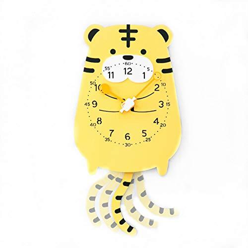 YOURNELO Children's Creative Cartoon Lovely Animals Rocking Wall Clock (Tiger) ()