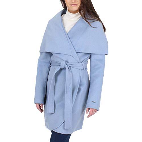 T Tahari Womens Marla Winter Wool Blend Wrap Coat Blue XS
