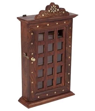 Wooden Key Cabinet Jali Design work,decorative key holder box,wall hanging  hooks,