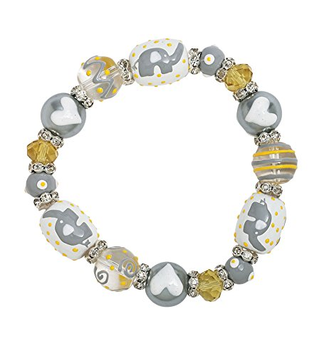 Kate & Macy Hand Painted Glass Bead Bracelet - Gray Elephant -
