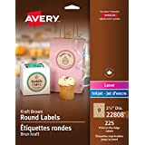 Avery Easy Peel Print-To-The-Edge Kraft Brown Round Labels, 2-1/2-Inch Diameter, Pack of 225 (22808)
