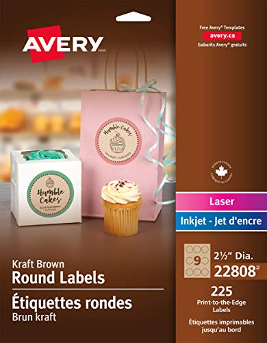 Avery Round Print-to-the-Edge Labels, 2 1/2 inch dia, Brown Kraft, 225/PK
