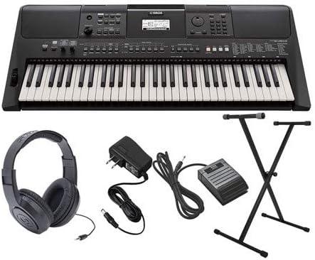 Yamaha PSR-E463 paquete de teclado ultra premium con soporte, pedal de sostenido, auriculares y adaptador de CA